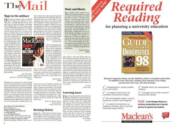 Article Preview: Rape in the military, June 1998 | Maclean's