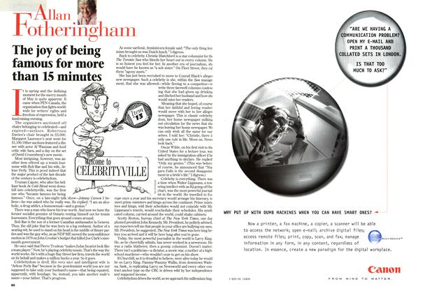 Article Preview: The joy of being famous for more than 15 minutes, June 1998 | Maclean's