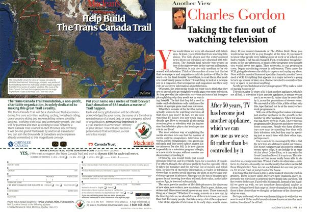 Article Preview: Taking the fun out of watching television, June 1998 | Maclean's