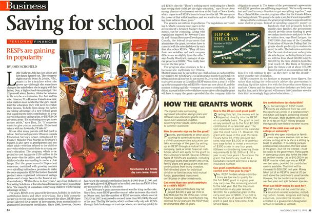 Article Preview: Saving for school, June 1998 | Maclean's
