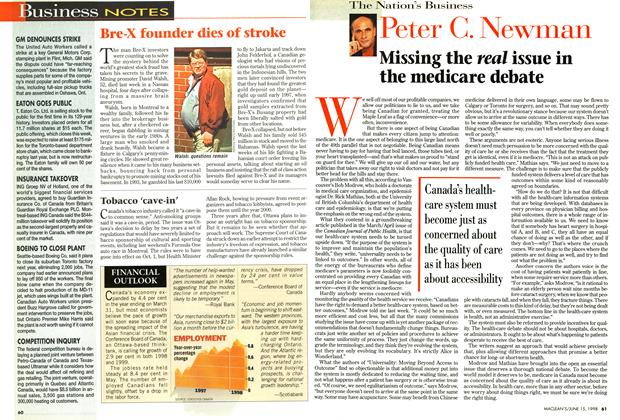 Article Preview: Missing the real issue in the medicare debate, June 1998 | Maclean's