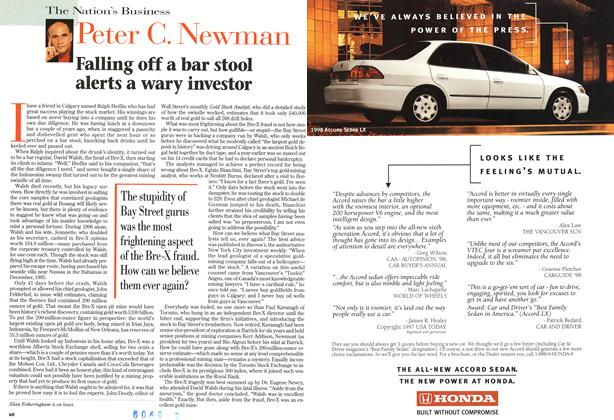 Article Preview: Falling off a bar stool alerts a wary investor, June 1998 | Maclean's