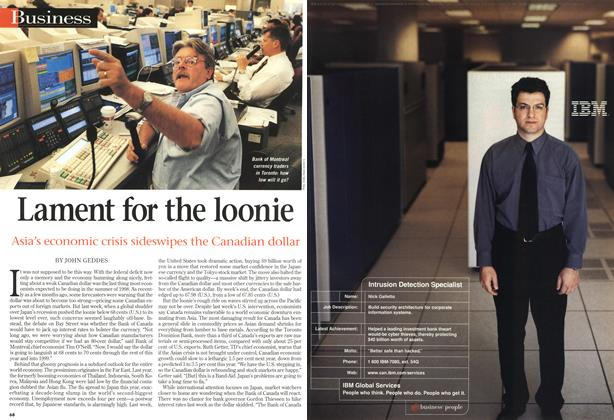 Article Preview: Lament for the loonie, July 1998 | Maclean's
