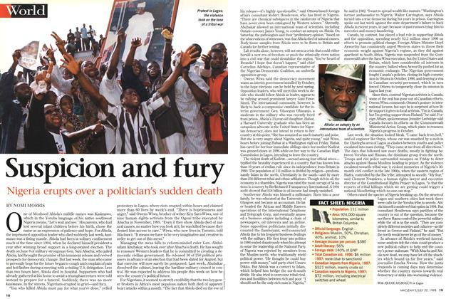 Article Preview: Suspicion and fury, July 1998 | Maclean's