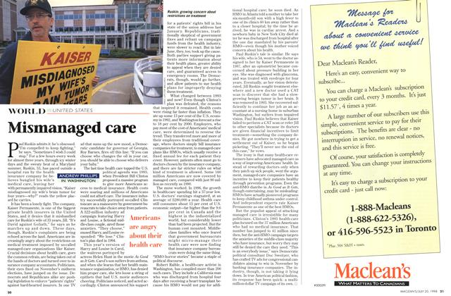 Article Preview: Mismanaged care, July 1998 | Maclean's