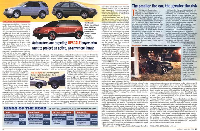 Article Preview: The smaller the car, the greater the risk, July 1998 | Maclean's