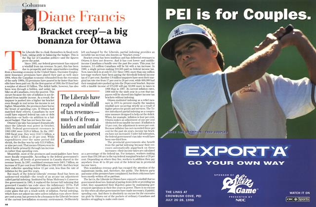 Article Preview: ' Bracket creep— a big bonanza for Ottawa, July 1998 | Maclean's