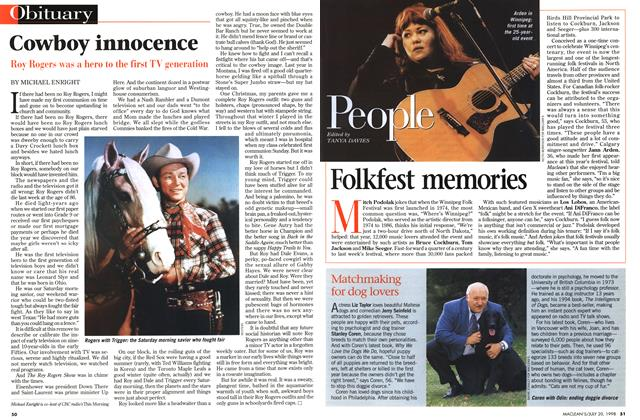 Article Preview: Cowboy innocence, July 1998 | Maclean's