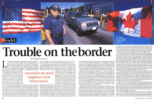 Article Preview: Trouble on the border, August 1998 | Maclean's