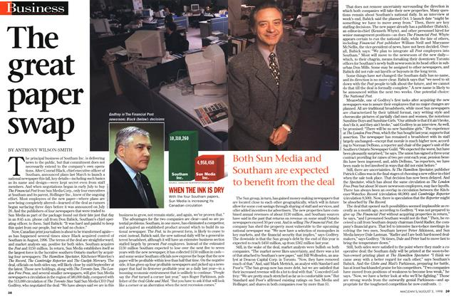 Article Preview: The great paper swap, August 1998 | Maclean's