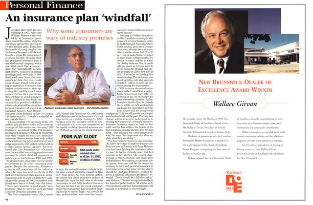 Article Preview: An insurance plan 'windfall', August 1998 | Maclean's