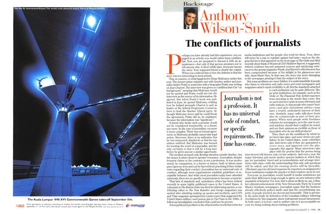 Article Preview: The conflicts of journalists, August 1998 | Maclean's