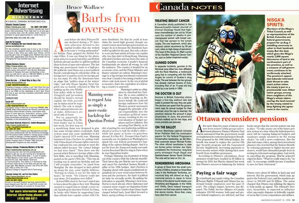 Article Preview: Barbs from overseas, August 1998 | Maclean's