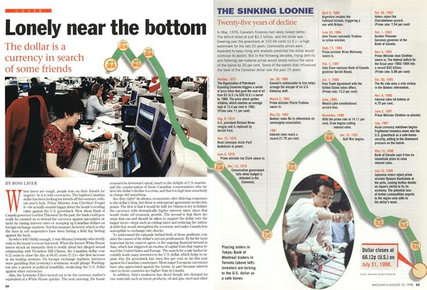 Article Preview: Lonely near the bottom, August 1998 | Maclean's
