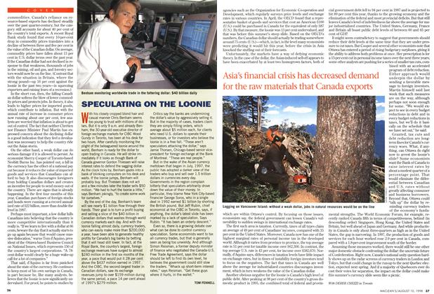 Article Preview: SPECULATING ON THE LOONIE, August 1998   Maclean's