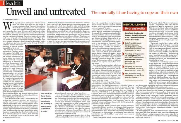Article Preview: Unwell and untreated, August 1998 | Maclean's