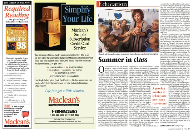 Article Preview: Summer in class, August 1998 | Maclean's