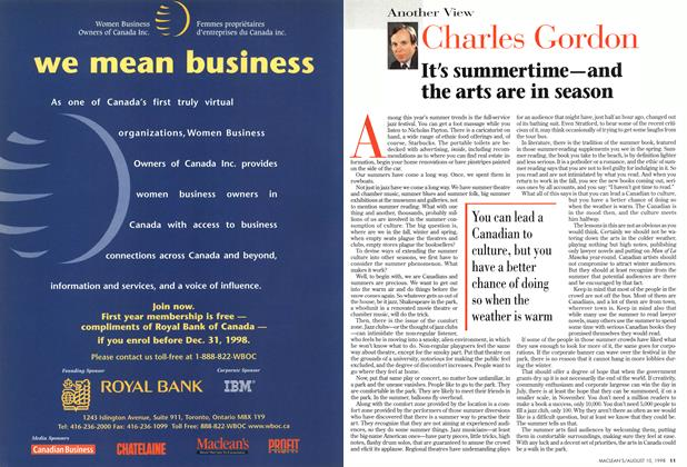 Article Preview: It's summertime—and the arts are in season, August 1998 | Maclean's