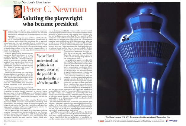 Article Preview: Saluting the playwright who became president, August 1998 | Maclean's