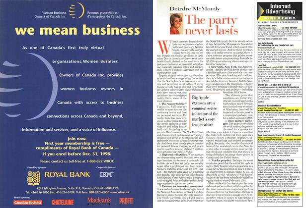 Article Preview: The party never lasts, August 1998 | Maclean's