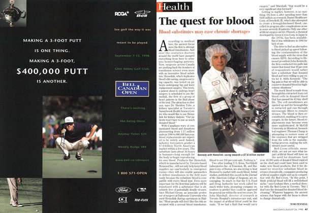 Article Preview: The quest for blood, August 1998 | Maclean's