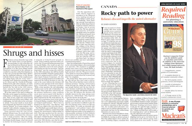 Article Preview: Rocky path to power, August 1998 | Maclean's