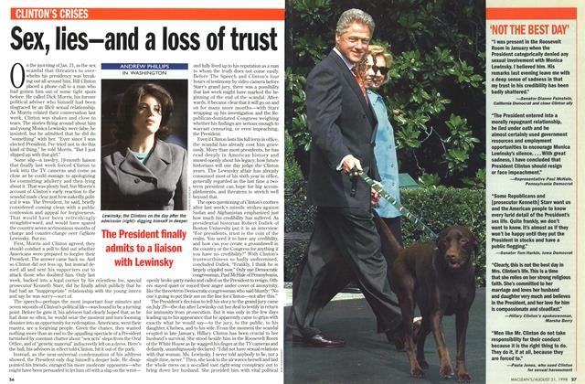 Article Preview: Sex, lies—and a loss of trust, August 1998 | Maclean's