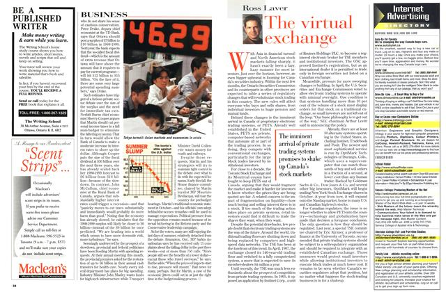 Article Preview: The virtual exchange, August 1998 | Maclean's