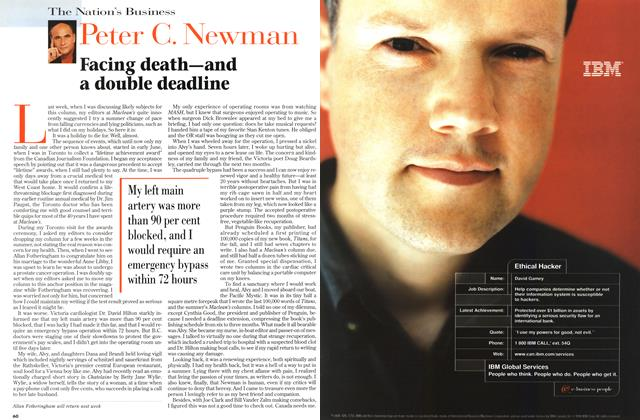 Article Preview: Facing death—and a double deadline, September 1998 | Maclean's
