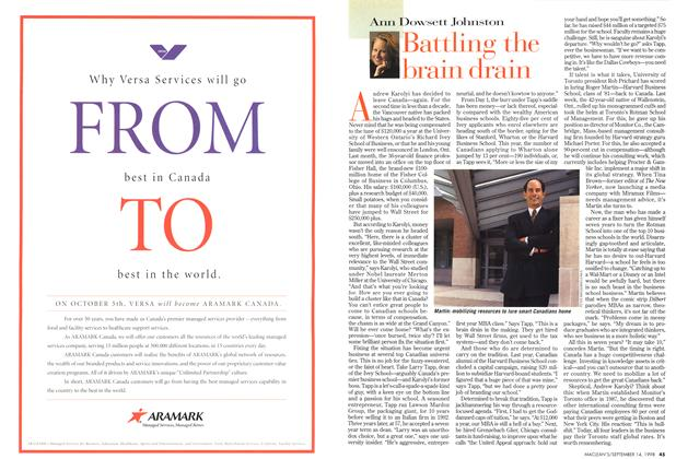 Article Preview: Battling the brain drain, September 1998 | Maclean's