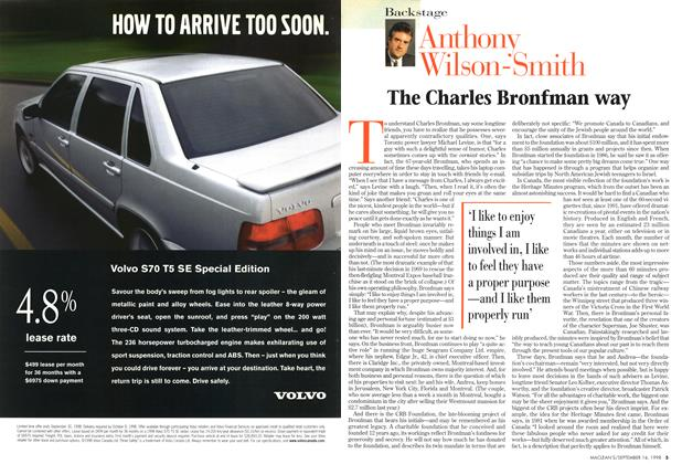 Article Preview: The Charles Bronfman way, September 1998 | Maclean's