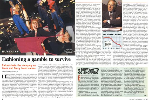 Article Preview: Fashioning a gamble to survive, September 1998 | Maclean's