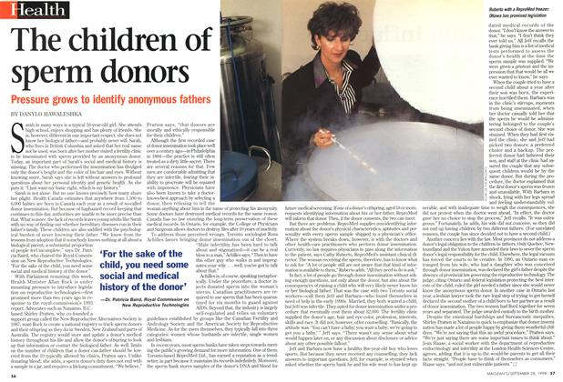Article Preview: The children of sperm donors, September 1998 | Maclean's