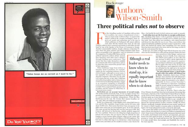 Article Preview: Three political rules not to observe, September 1998 | Maclean's