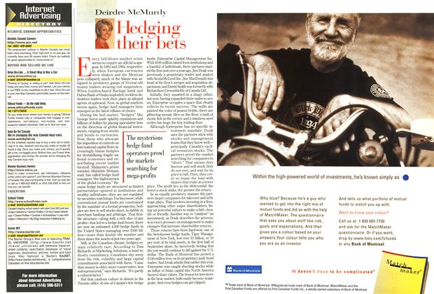Article Preview: Hedging their bets, October 1998 | Maclean's