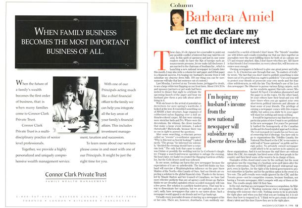 Article Preview: Let me declare my conflict of interest, October 1998 | Maclean's