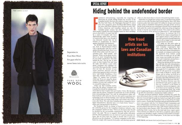 Article Preview: Hiding behind the undefended border, October 1998 | Maclean's