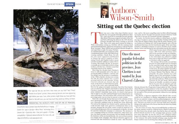 Article Preview: Sitting out the Quebec election, October 1998   Maclean's