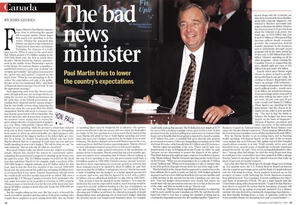 Article Preview: The bad news minister, October 1998 | Maclean's