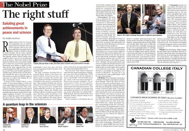 Article Preview: The right stuff, October 1998 | Maclean's