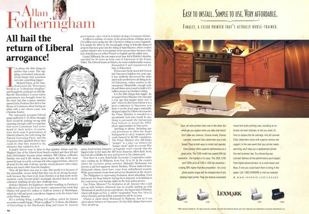 Article Preview: All hail the return of Liberal arrogance!, October 1998 | Maclean's