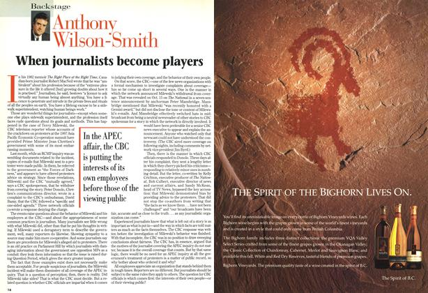 Article Preview: When journalists become players, November 1998 | Maclean's