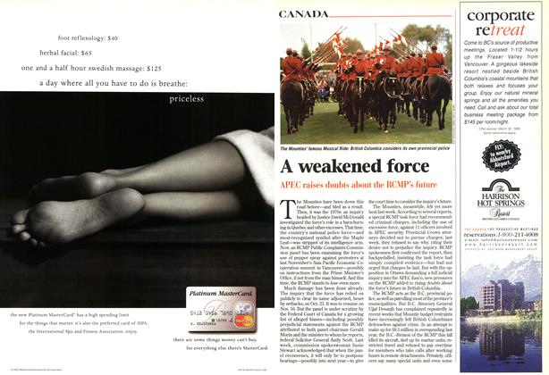 Article Preview: A weakened force, November 1998 | Maclean's