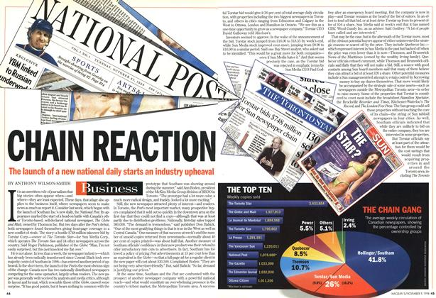 Article Preview: CHAIN REACTION, November 1998 | Maclean's