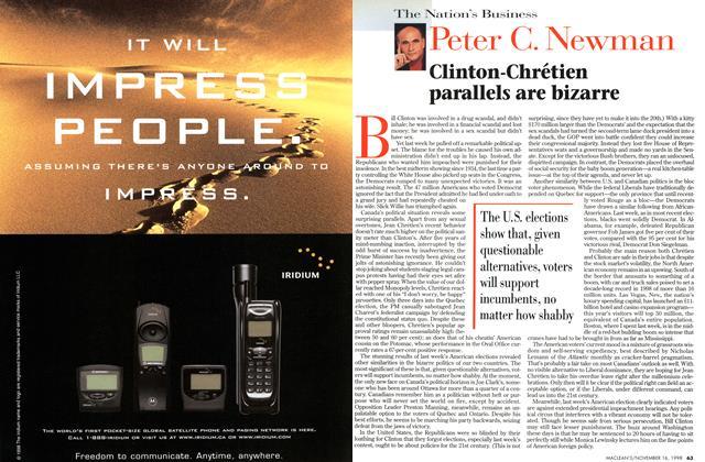 Article Preview: Clinton-Chrétien parallels are bizarre, November 1998 | Maclean's