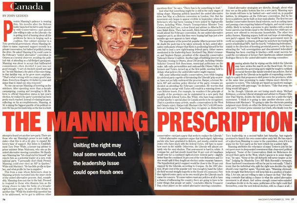 Article Preview: THE MANNING PRESCRIPTION, November 1998 | Maclean's