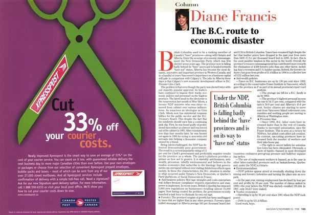 Article Preview: The B.C. route to economic disaster, November 1998 | Maclean's