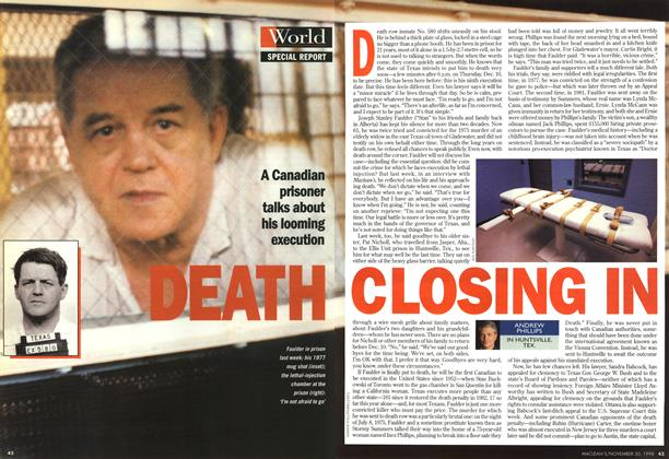 Article Preview: DEATH CLOSING IN, November 1998 | Maclean's