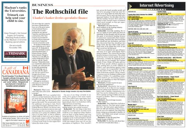 Article Preview: The Rothschild file, November 1998 | Maclean's