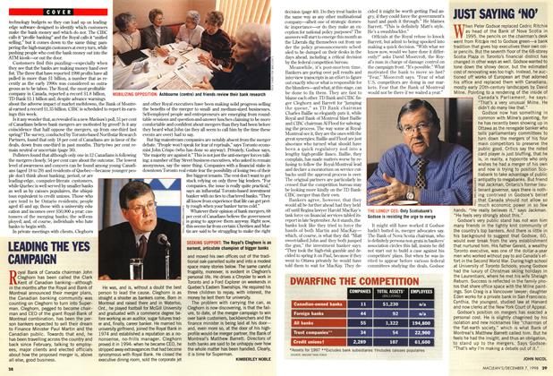 Article Preview: JUST SAYING 'NO', December 1998 | Maclean's